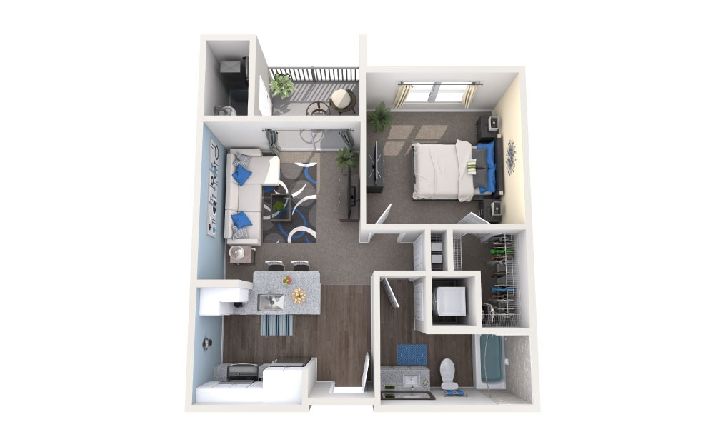 Toho - 1 bedroom floorplan layout with 1 bath and 600 square feet.