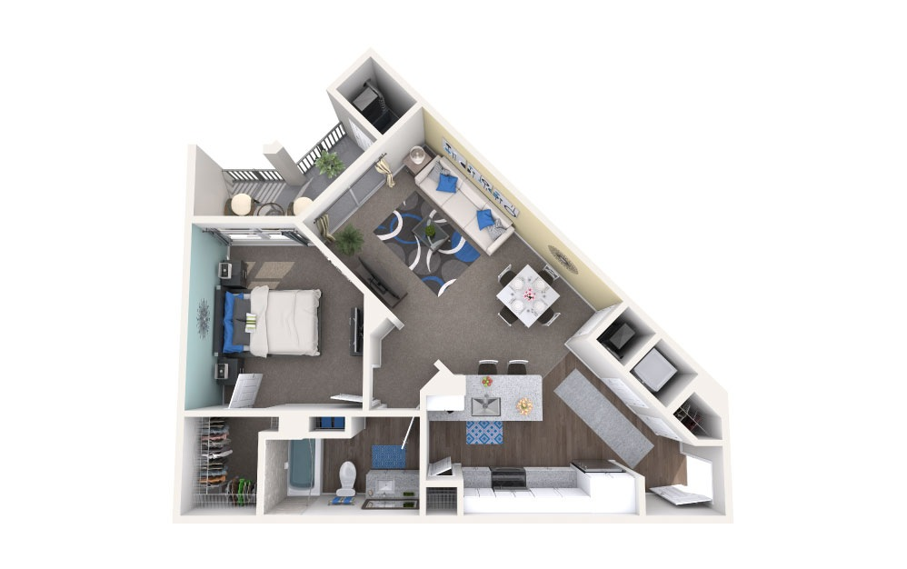 Eola - 1 bedroom floorplan layout with 1 bath and 756 square feet.