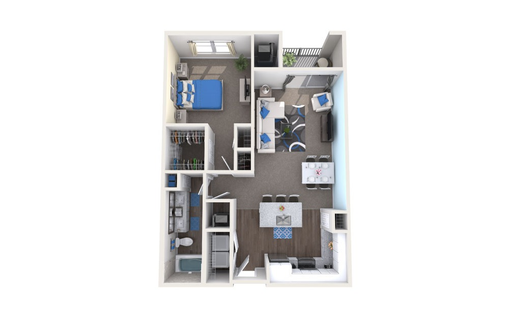 Killarney - 1 bedroom floorplan layout with 1 bath and 800 square feet.