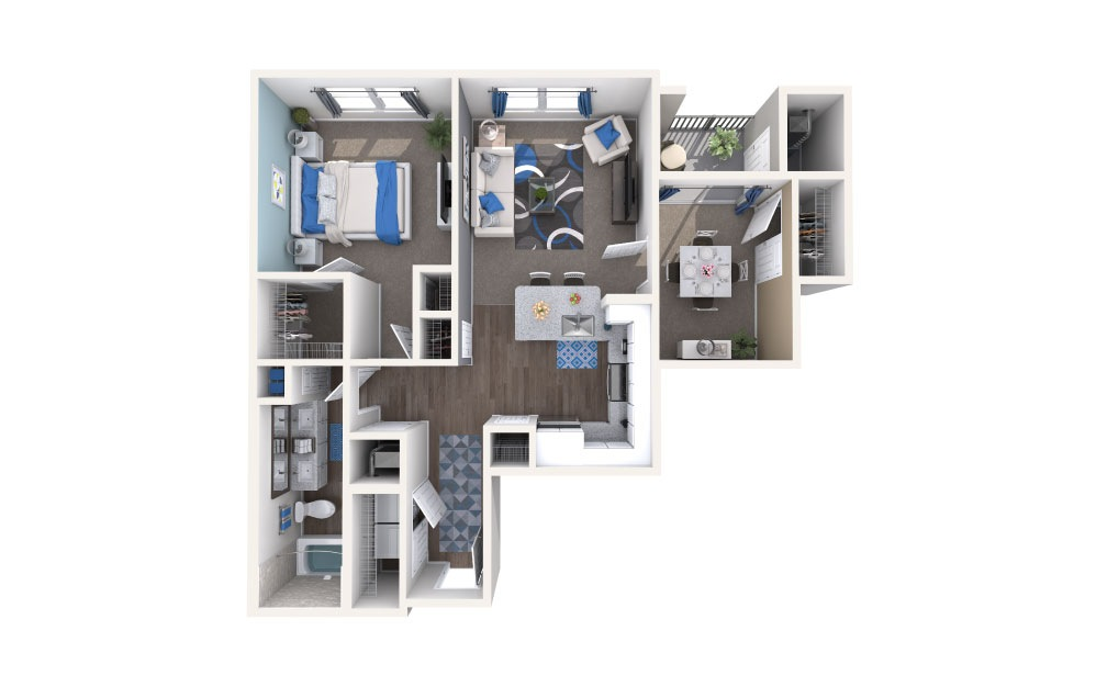 Conway - 2 bedroom floorplan layout with 1 bath and 831 square feet.