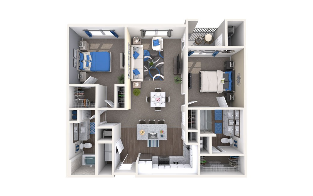 Butler - 2 bedroom floorplan layout with 2 baths and 1099 square feet.