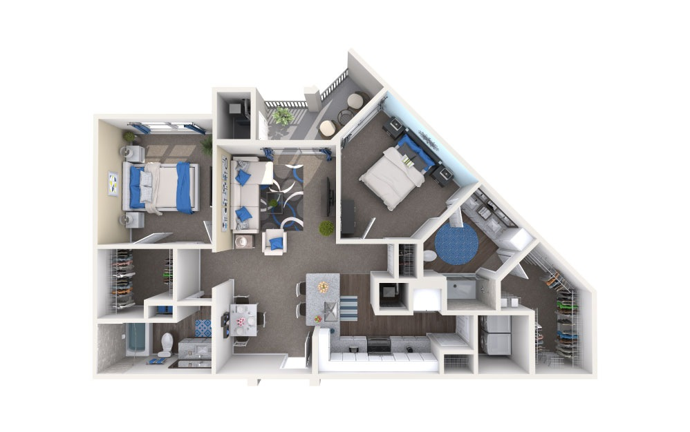 Harris - 2 bedroom floorplan layout with 2 baths and 1109 square feet.