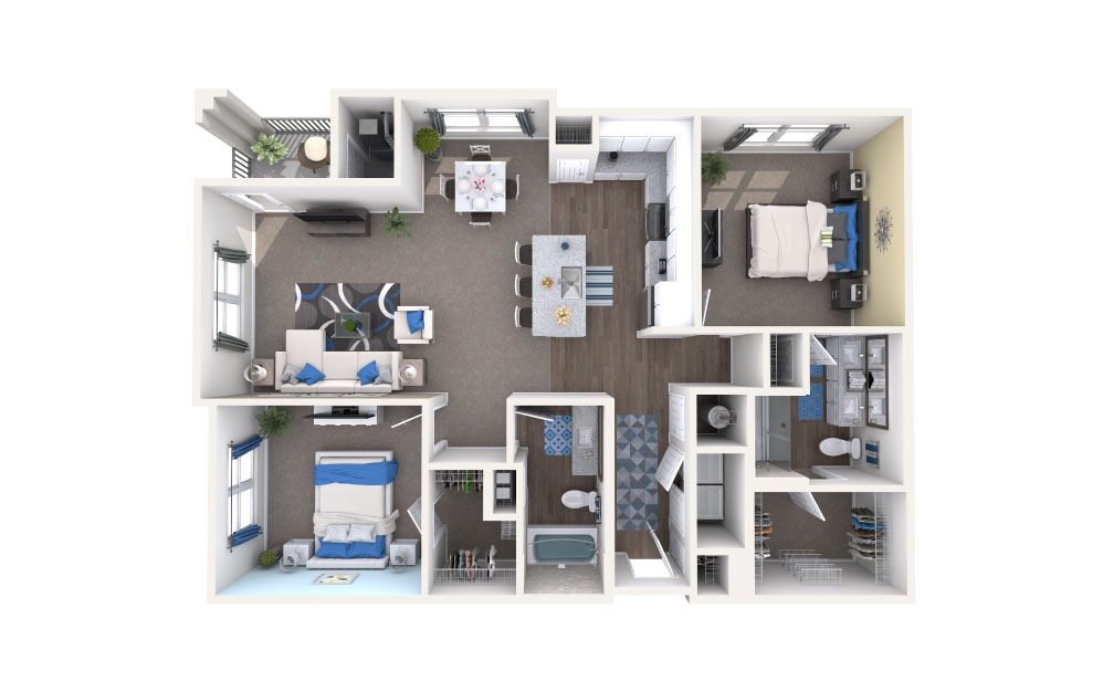 Jesup - 2 bedroom floorplan layout with 2 baths and 1248 square feet.