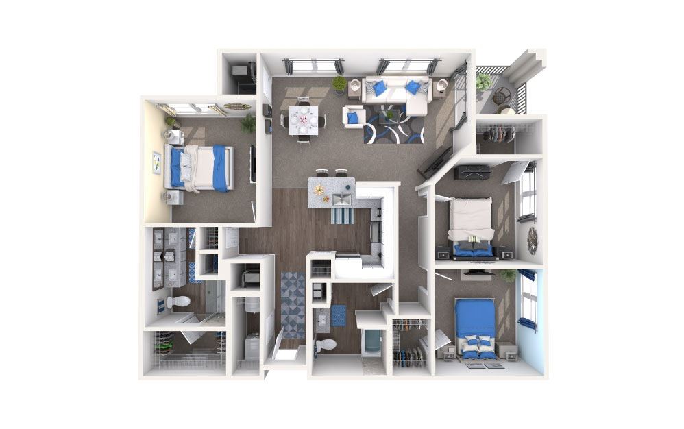Ivanhoe - 3 bedroom floorplan layout with 2 baths and 1426 square feet.